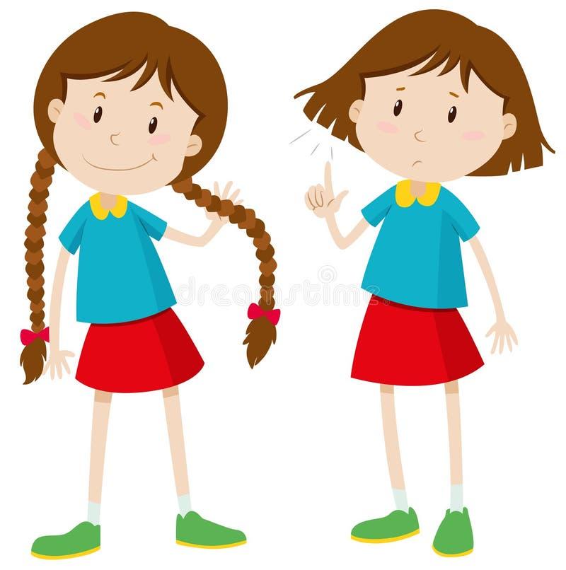 Petite fille avec de longs et courts cheveux illustration libre de droits