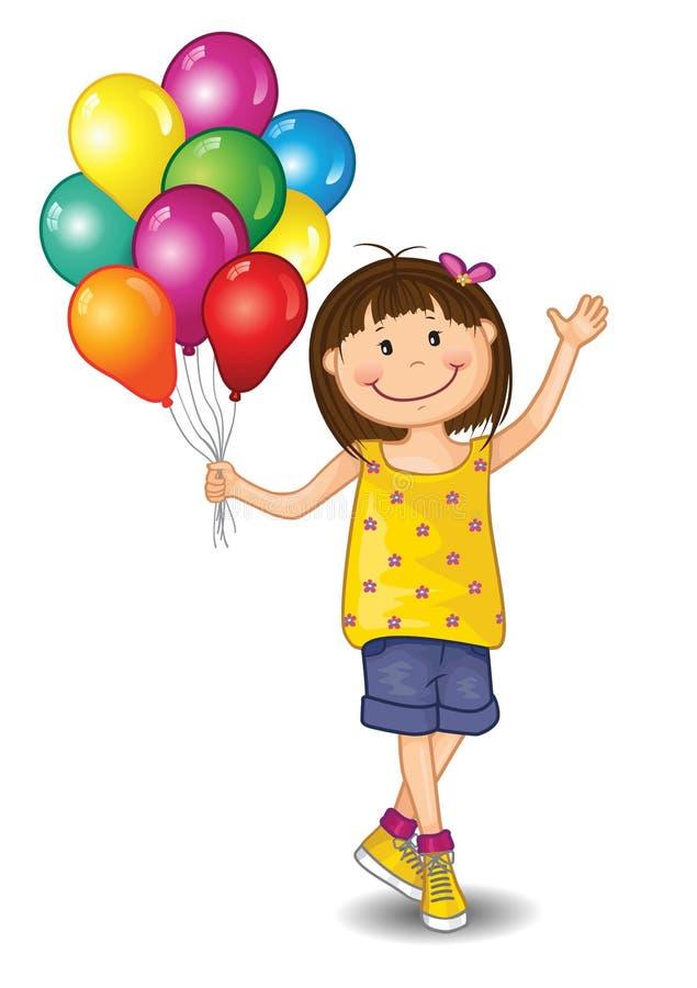 Petite fille avec des ballons illustration stock
