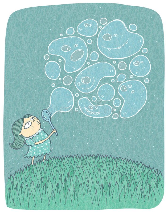 Petite fille avec des bulles de savon : illustration tirée par la main illustration stock