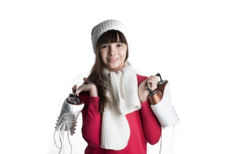 Petite fille avec des patins d'isolement images libres de droits