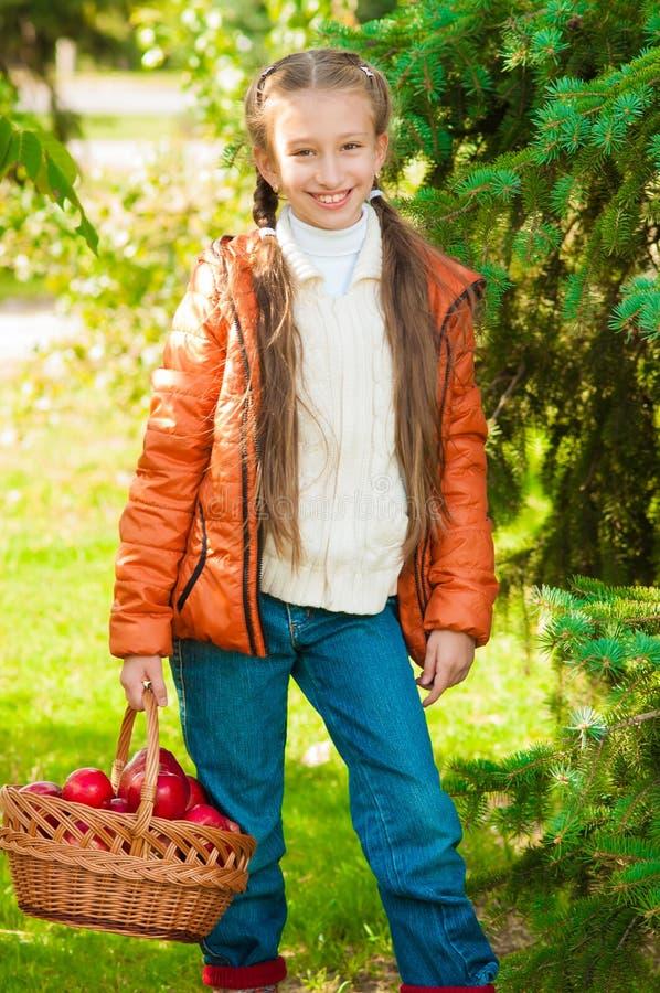 Download Petite Fille Avec Des Pommes En Parc Image stock - Image du chéris, sain: 45354187