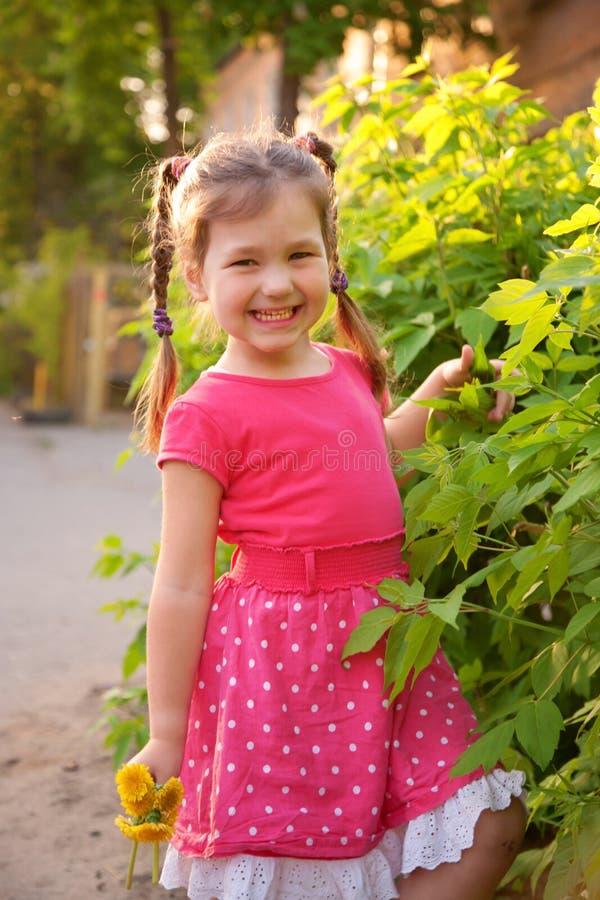 Petite fille avec des tresses dans le jardin images libres de droits