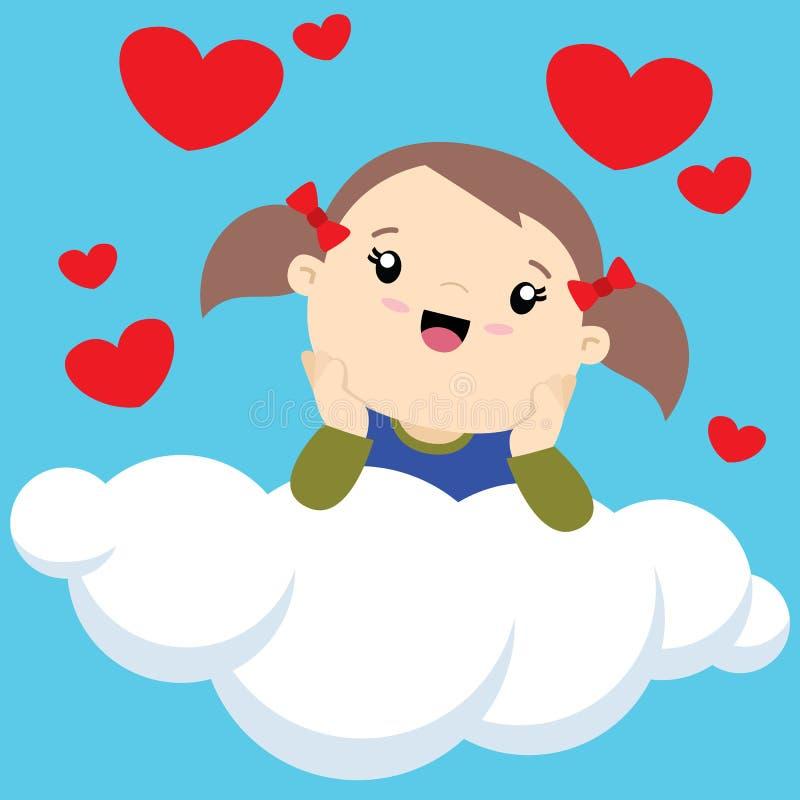 Petite fille avec deux queues de cheval sur une pensée de nuage illustration de vecteur