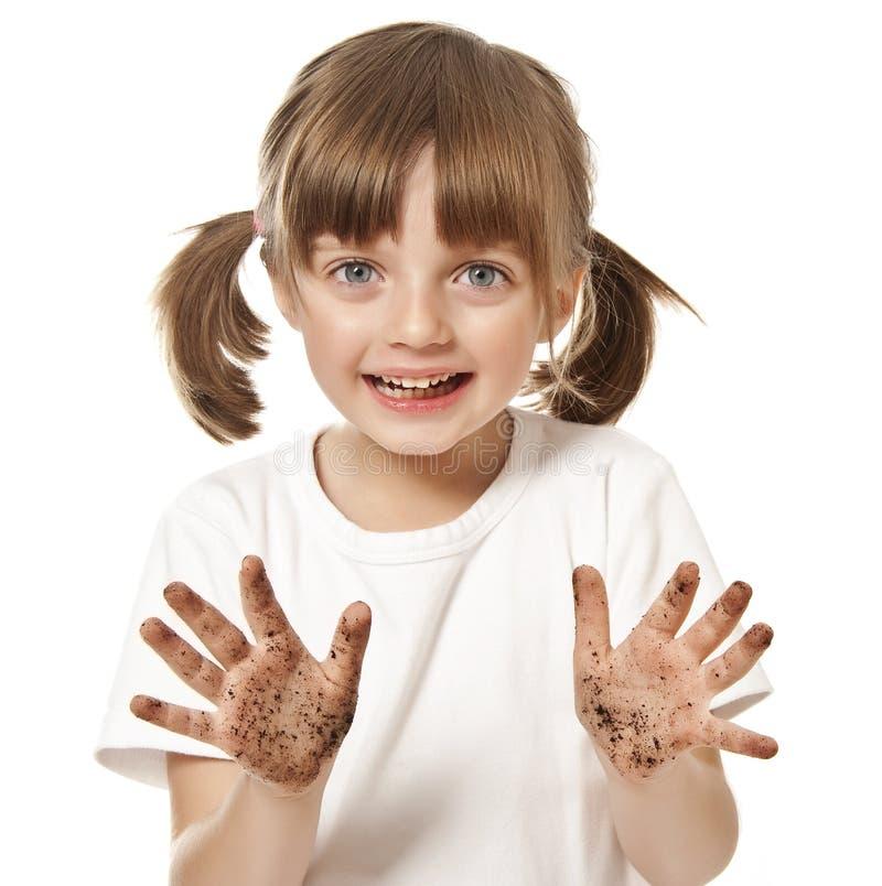 Petite fille avec la main modifiée images libres de droits