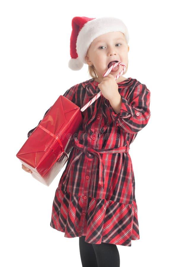 Petite fille avec le cadeau de Noël photos libres de droits