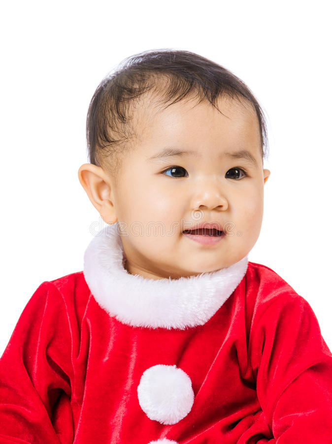 Petite fille avec le habillage de Noël photo stock