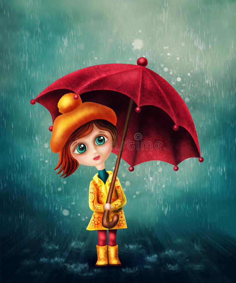 Petite fille avec le parapluie illustration de vecteur