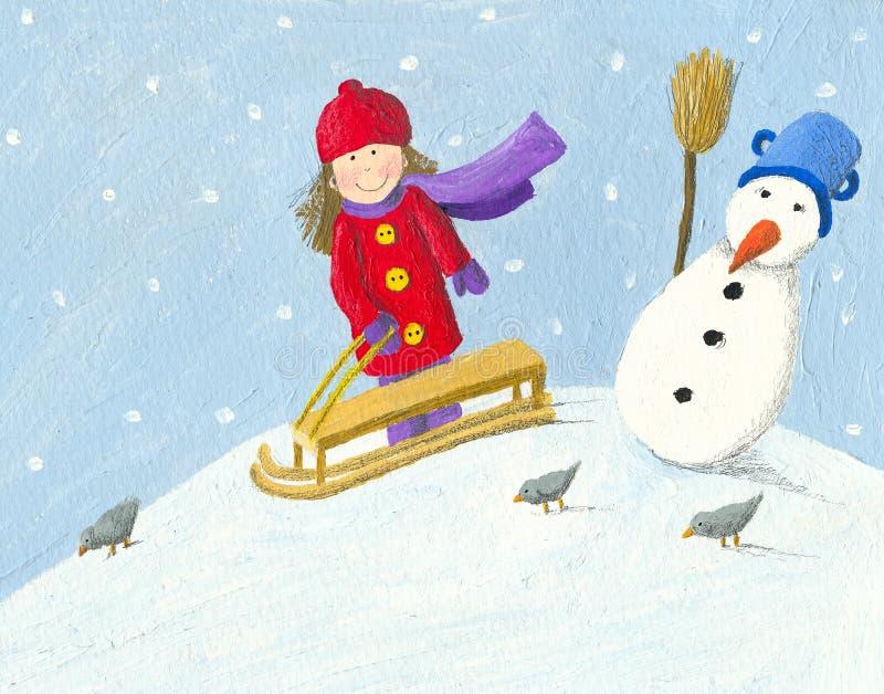 Petite fille avec le traîneau en hiver illustration stock