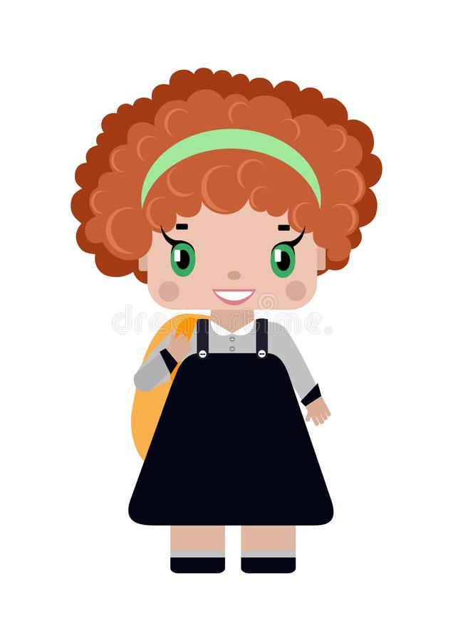 petite fille, avec les cheveux bouclés rouges dans l'uniforme scolaire illustration libre de droits