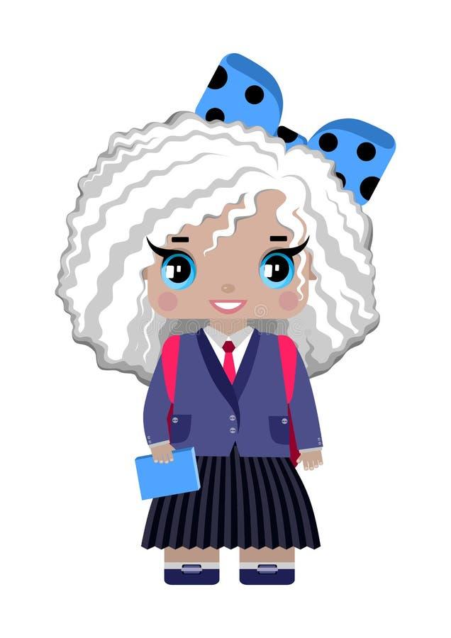 Petite fille, avec les cheveux bouclés, les yeux bleus blancs, arc bleu et dans l'uniforme scolaire illustration libre de droits