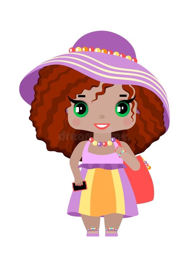 petite fille, avec les yeux verts et les cheveux rouges onduleux dans l'équipement lilas de plage illustration de vecteur