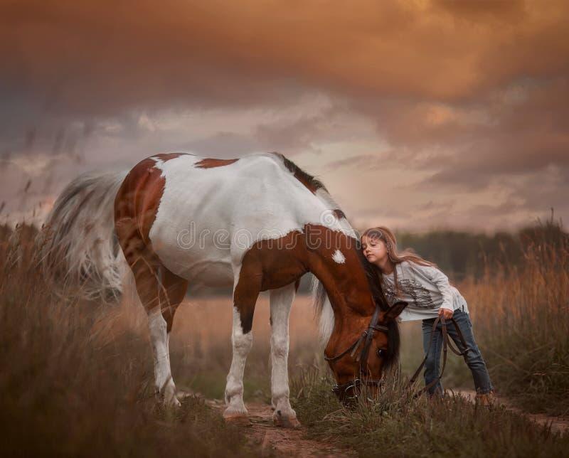 Petite fille avec un poney de pinto à l'indienne dans le champ d'été images stock