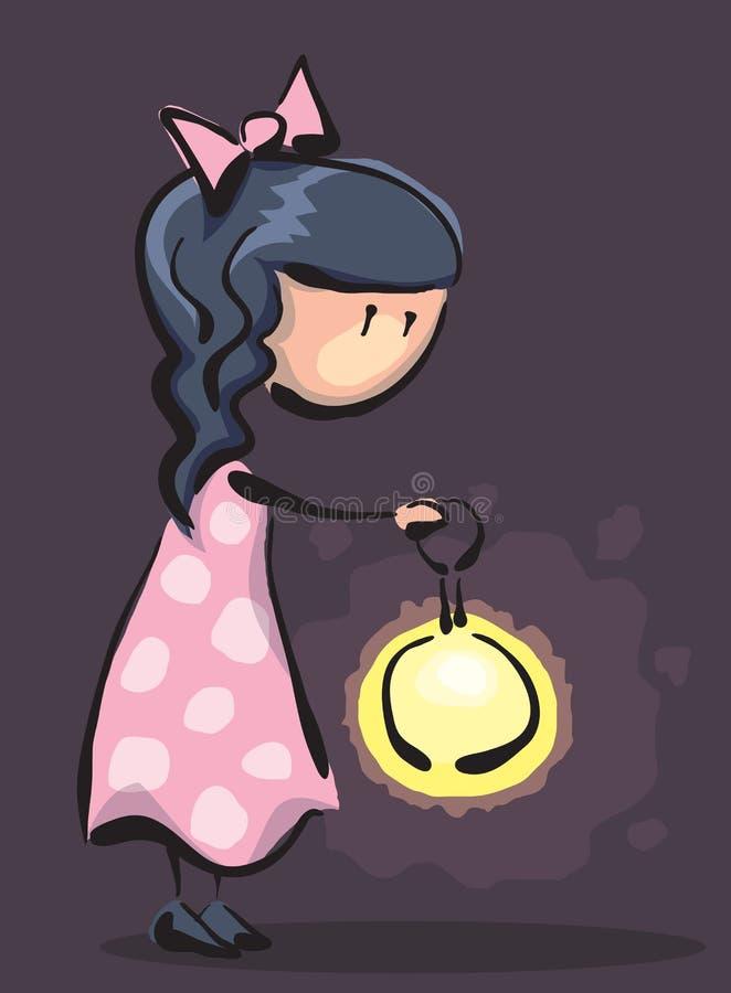 Petite fille avec une lampe-torche illustration libre de droits