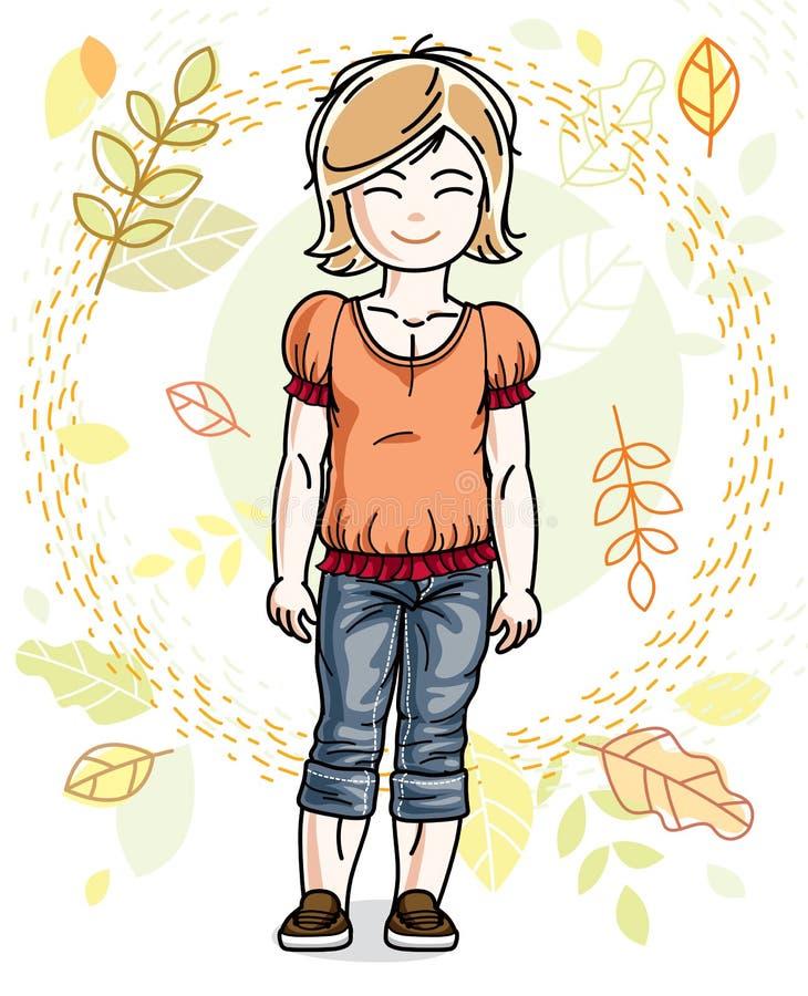 Petite fille blonde heureuse mignonne posant sur le fond du LAN d'automne illustration libre de droits