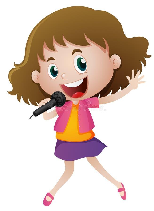 Petite fille chantant avec le microphone illustration stock