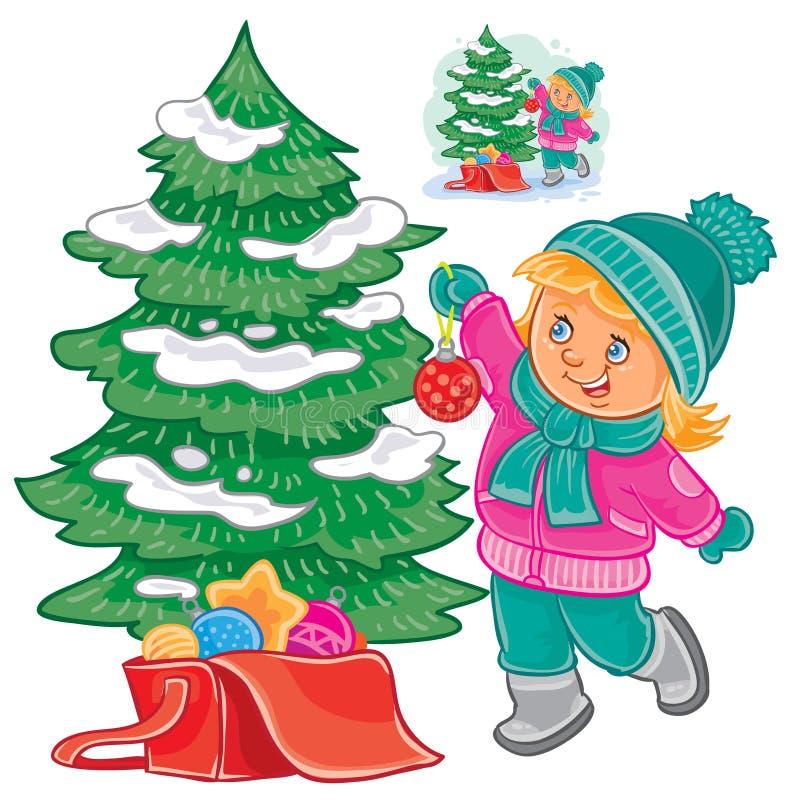 Petite fille décorant l'arbre de Noël illustration stock