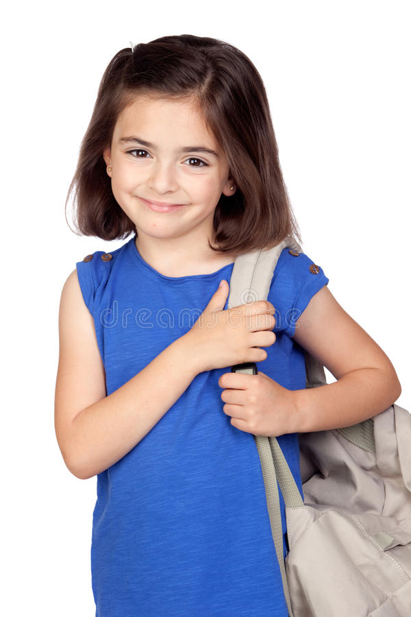 Petite fille d'étudiant avec un sac à dos image stock