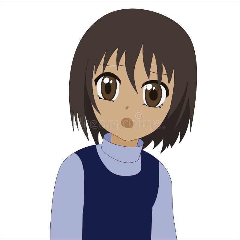 Petite fille d'anime mignon de bande dessinée illustration libre de droits
