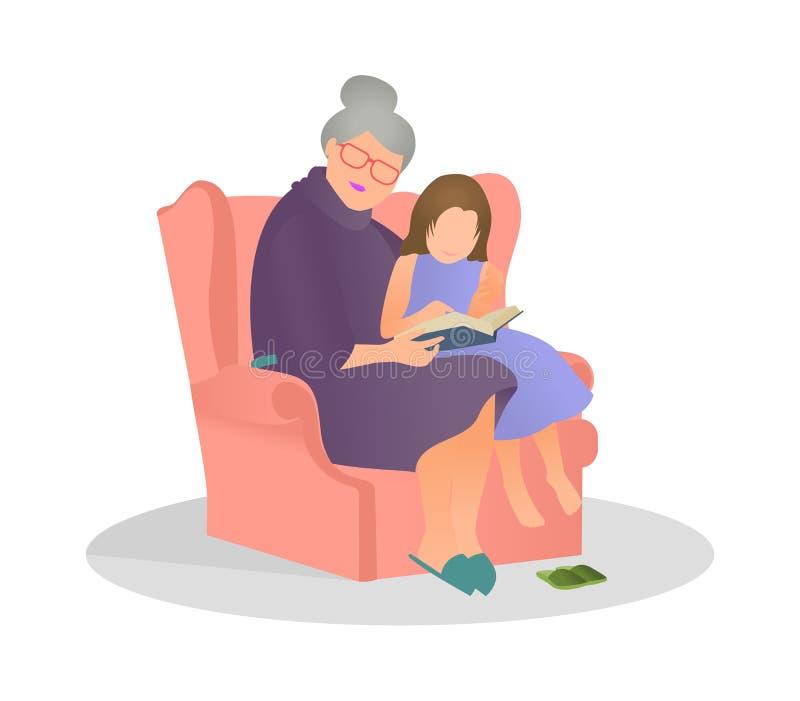 Petite-fille d'illustration de vecteur écoutant sa grand-mère lisant une histoire dans le style plat Mamie et petite-fille passer illustration libre de droits