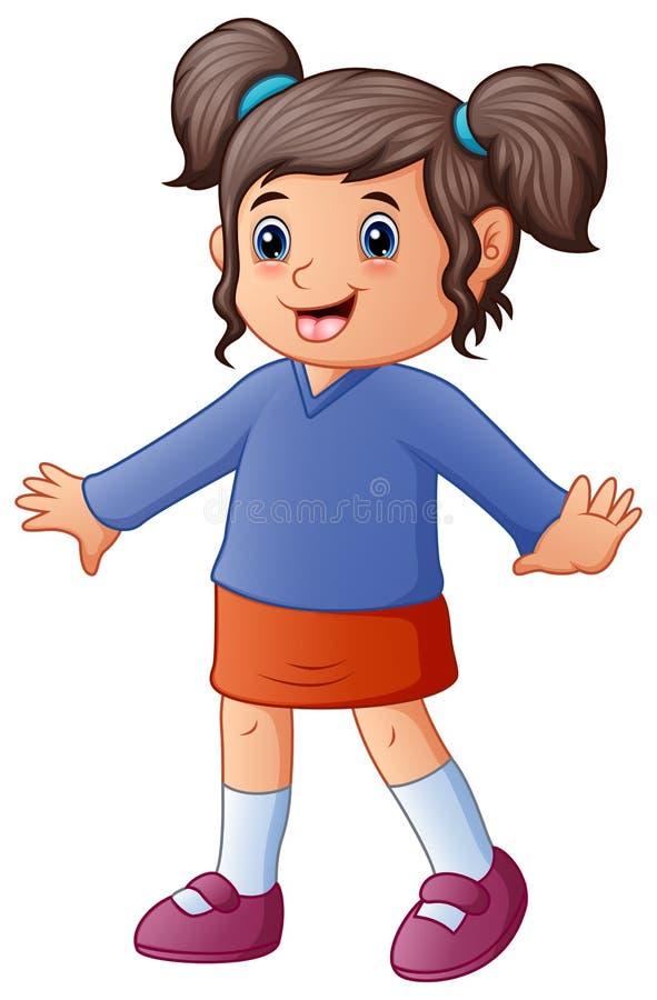Petite fille dans des vêtements rouges et bleus illustration de vecteur
