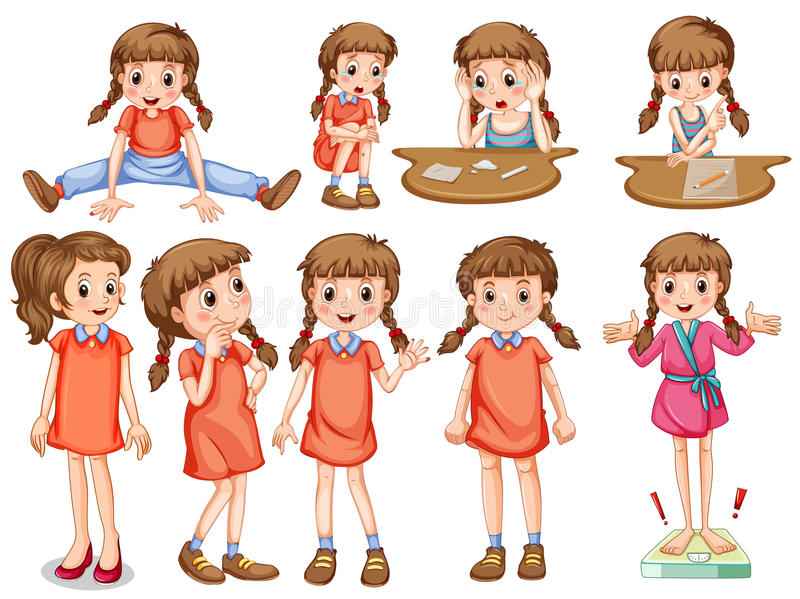Petite fille dans différentes actions illustration libre de droits