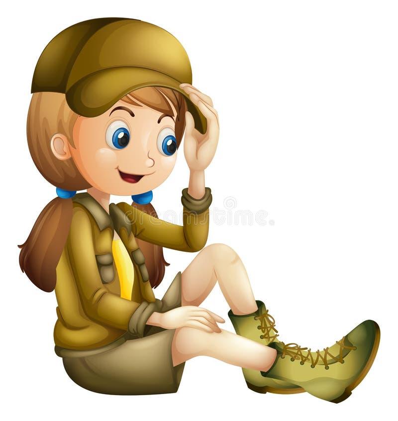Petite fille dans l'équipement de safari illustration libre de droits