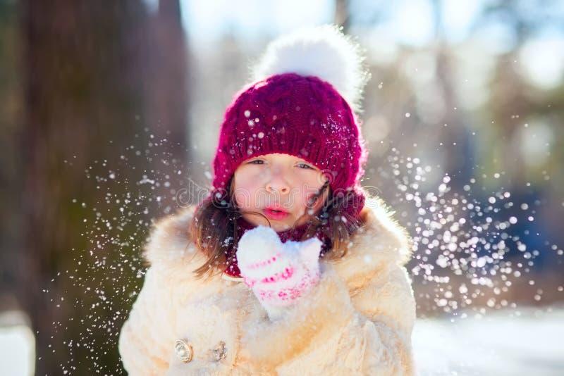 Petite fille dans la forêt d'hiver images libres de droits