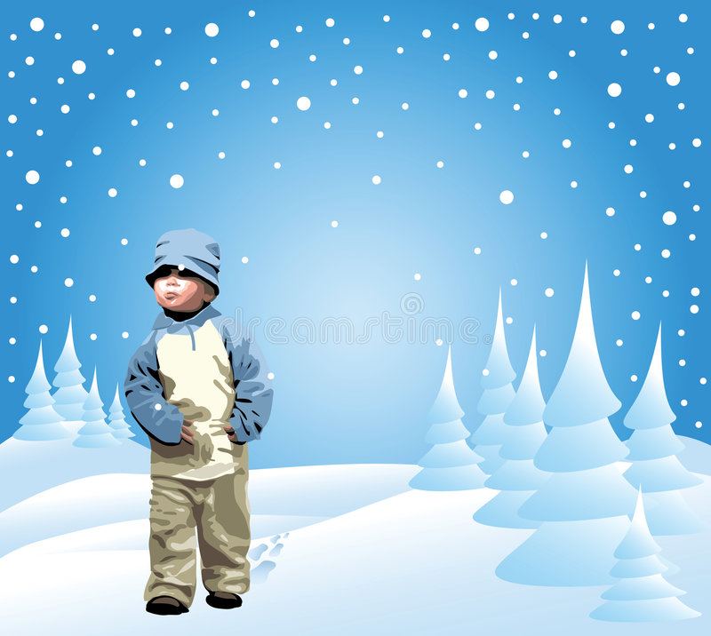 Petite fille dans la neige illustration stock