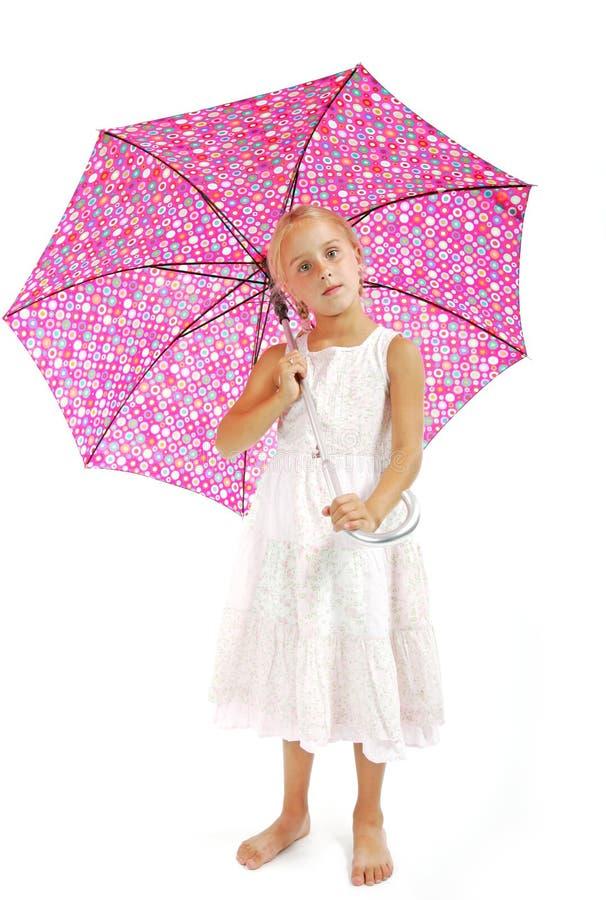 Petite fille dans la robe blanche image stock