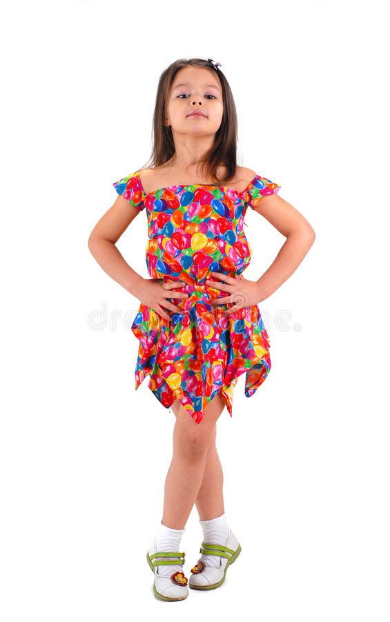 Petite fille dans la robe courte image stock