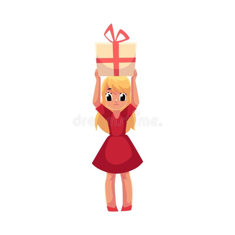 Petite fille dans la robe rouge jugeant le cadeau d'anniversaire aérien illustration stock