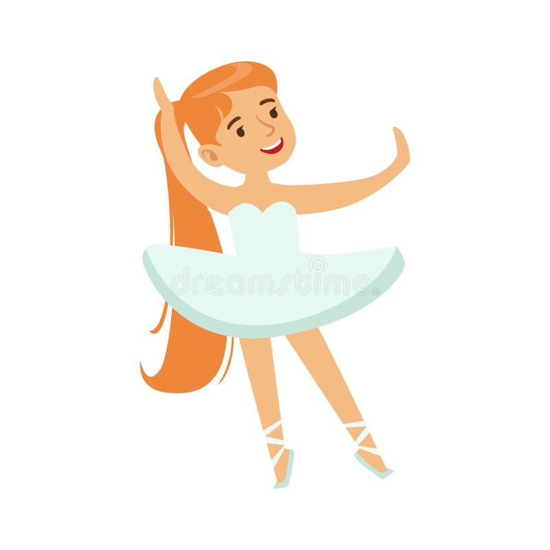 Petite fille dans le ballet blanc de danse de tutu dans la classe de danse classique, future danseuse professionnelle de ballerin illustration stock