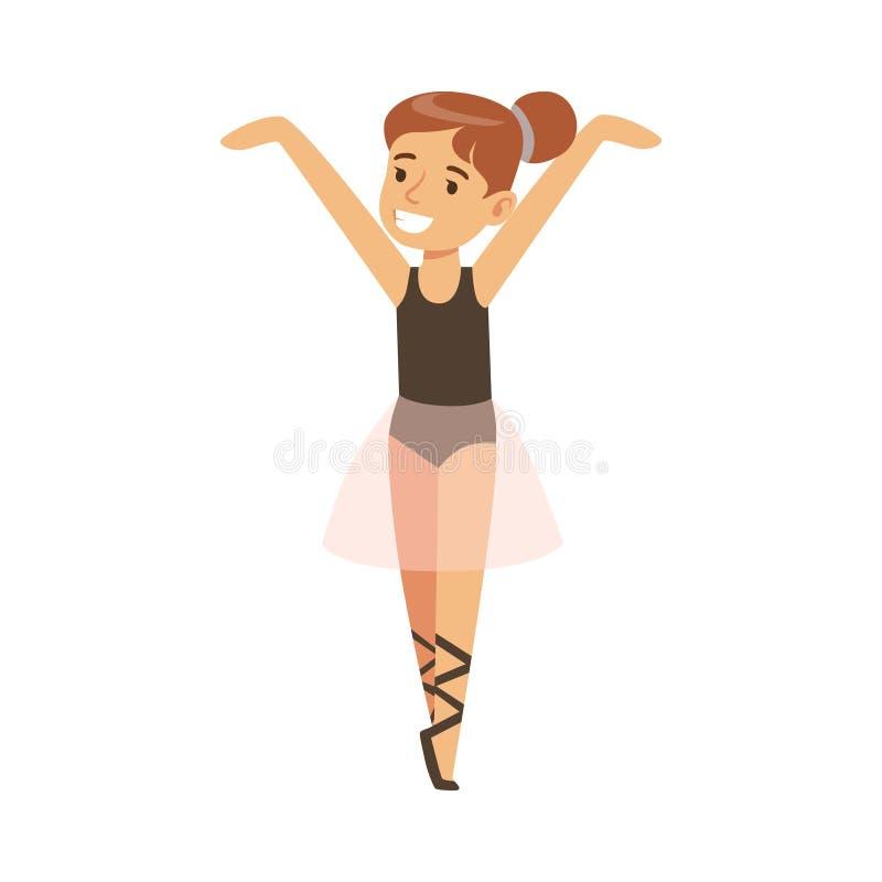 Petite fille dans le ballet rose de danse de tutu dans la classe de danse classique, future danseuse professionnelle de ballerine illustration de vecteur