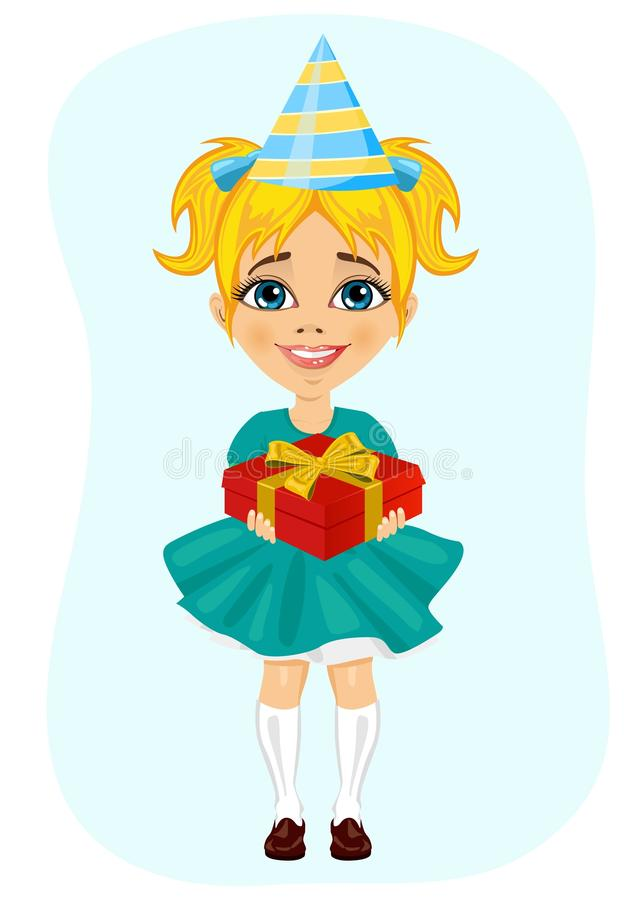 Petite fille dans le chapeau de partie tenant le cadeau d'anniversaire illustration stock