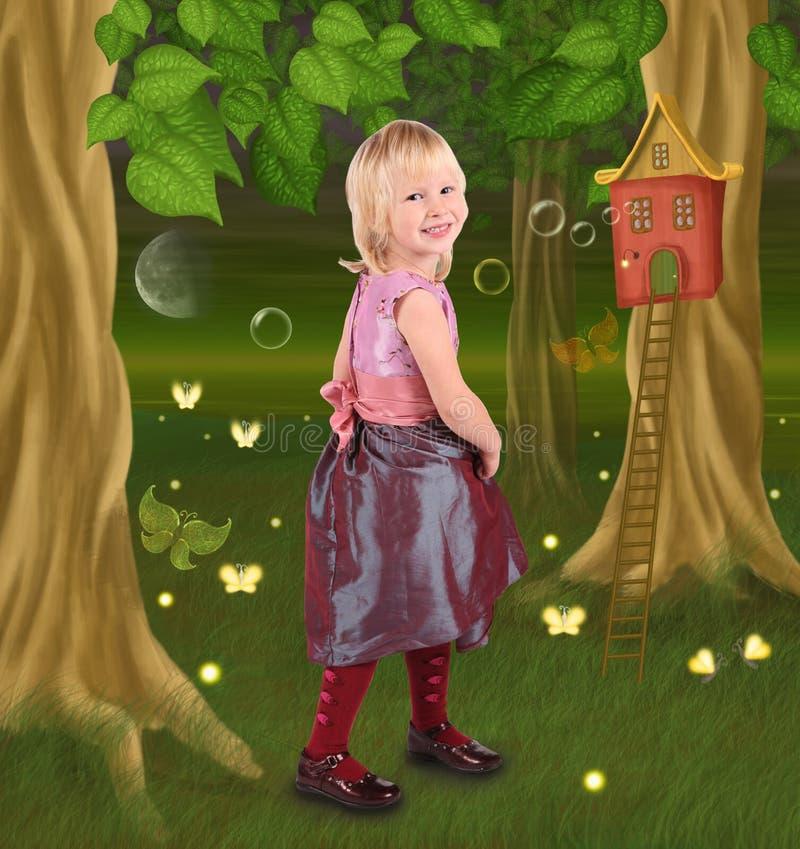 Petite fille dans le conte de fées illustration stock