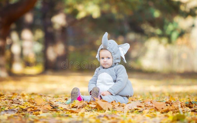 Petite fille dans le costume d'éléphant jouant dans la forêt d'automne image libre de droits
