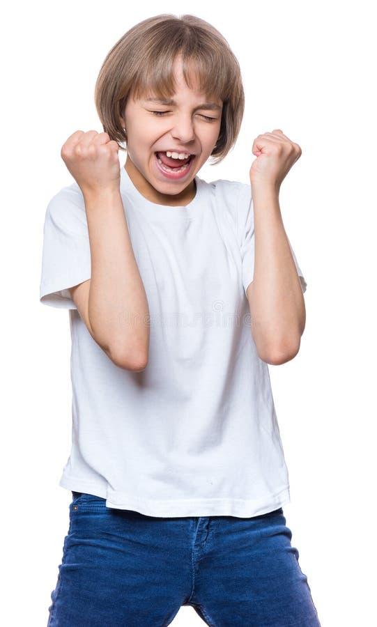 Petite fille dans le T-shirt blanc photo stock