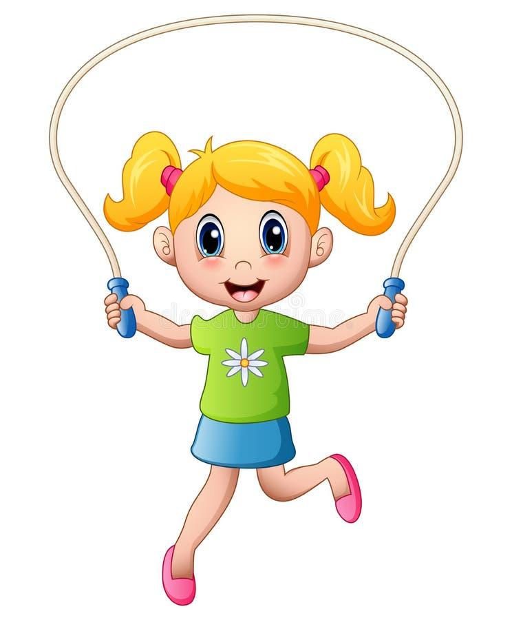Petite fille de bande dessinée jouant la corde à sauter illustration libre de droits