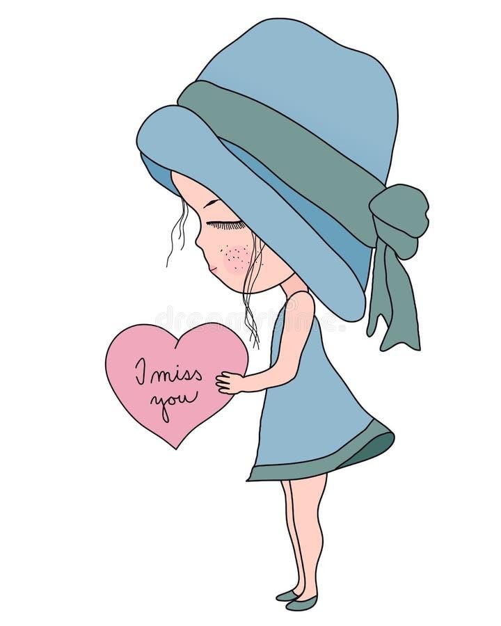 Petite fille de bande dessinée mignonne dans le chapeau bleu et la robe tenant le coeur avec le texte tu me manque, illustration  illustration stock