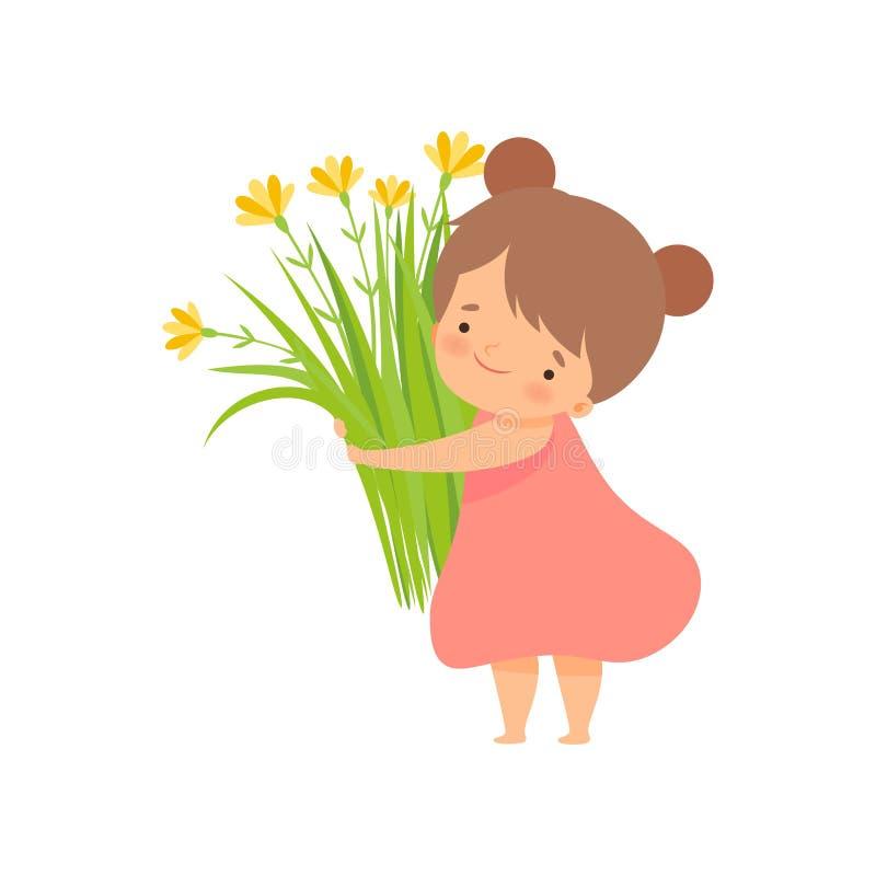 Petite Fille Avec Un Bouquet Des Fleurs En Stationnement
