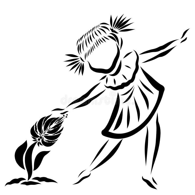 Petite fille de danse et fleur croissante, modèle noir illustration libre de droits