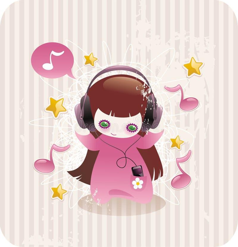 Petite fille de dessin animé écoutant la musique illustration stock