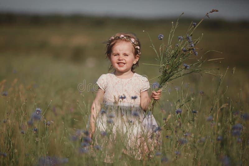 Petite fille de jeunes avec de longs cheveux, marche isol?e de robe blanche dans le domaine de pavot et rassemblement des fleurs  photo stock