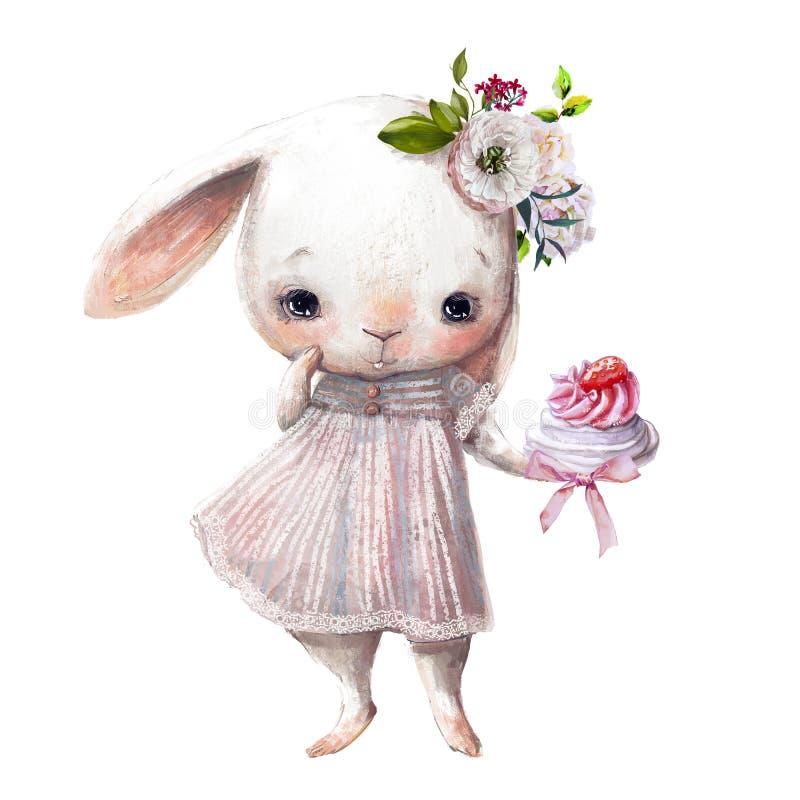 Petite fille de lapin mignonne avec le gâteau illustration de vecteur