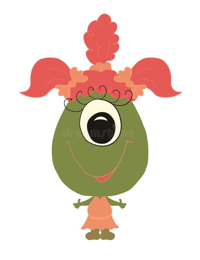 Petite petite fille de monstre de bande dessinée mignonne drôle de bébé illustration libre de droits