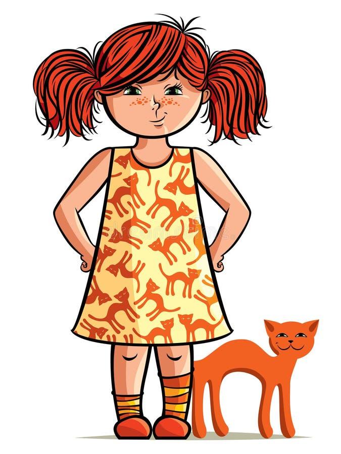Petite fille de red-head avec le chat rouge illustration stock