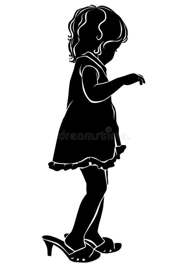 Petite fille de silhouette dans de grandes chaussures illustration de vecteur