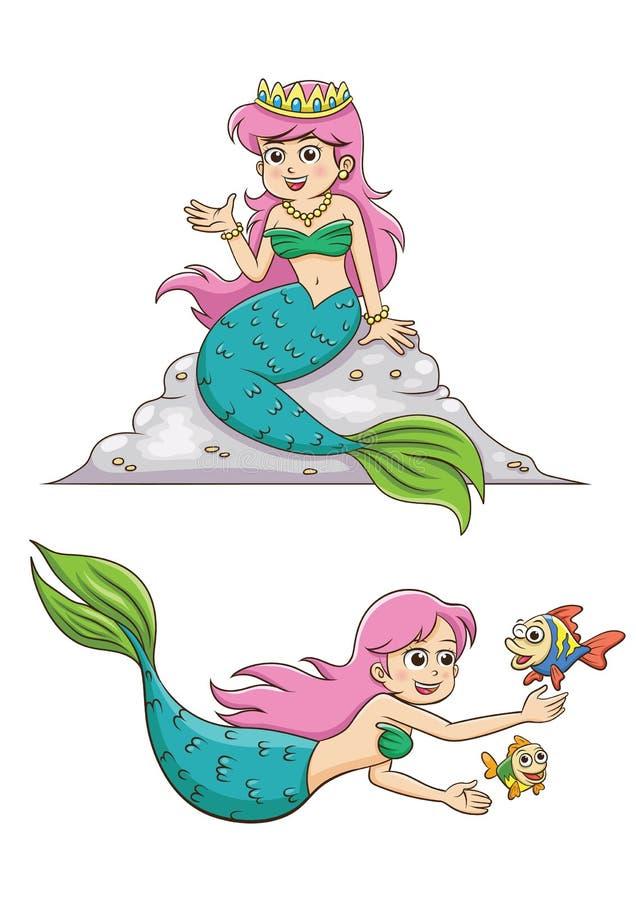 Petite fille de sirène illustration de vecteur