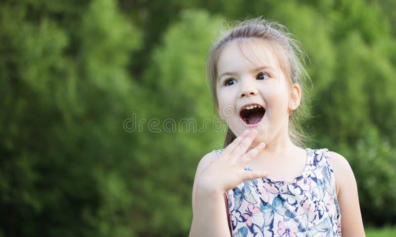 Petite fille de sourire heureuse sur le terrain de jeu photos stock