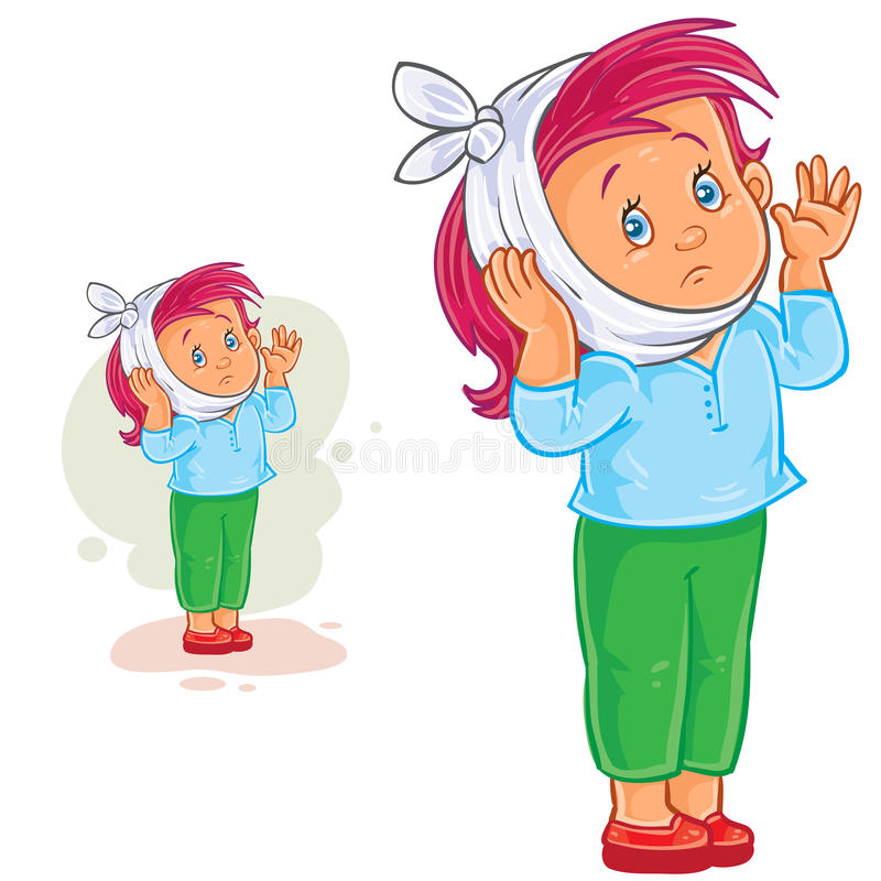 Petite fille de vecteur avec le mal de dents et la compresse de chauffage illustration stock